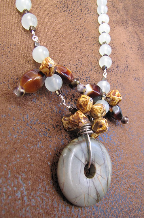 agate andvintage natural jade necklace