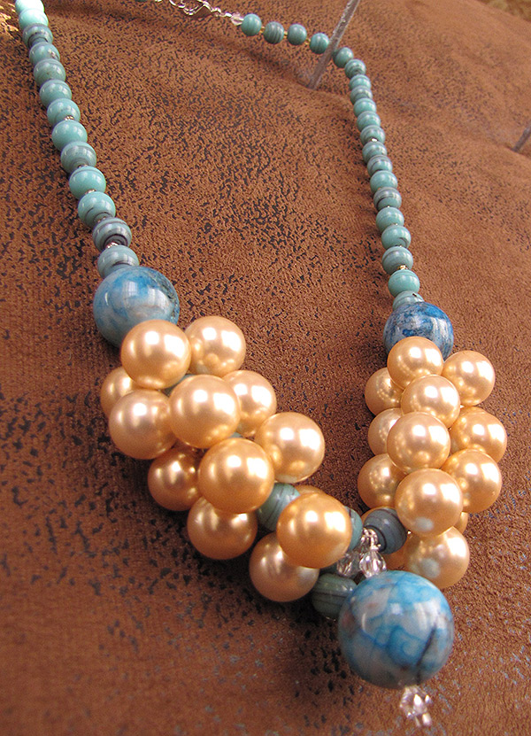 Howlite-turquoise-pearl Necklace