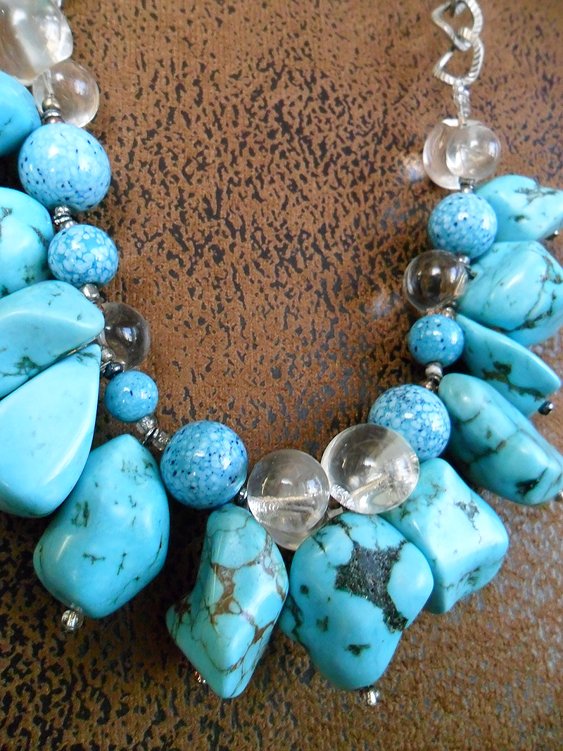 Turquoise, howlite & vintage glass bead necklace